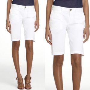 Tory Burch Kinney Bermuda Chino Shorts, white